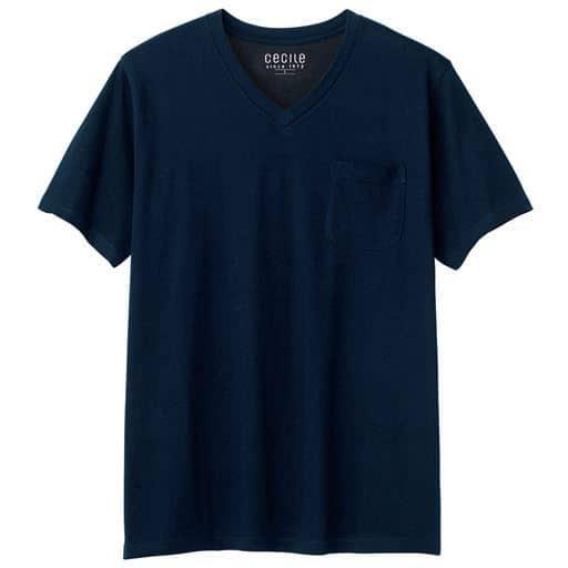 【レディース】 オーガニックコットン100% Tシャツ/Vネック(半袖) ■カラー:ダークネイビー ■サイズ:S,M,L,LL,3L,5L,7L