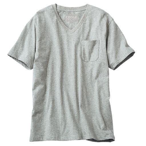 【レディース】 オーガニックコットン100% Tシャツ/Vネック(半袖) ■カラー:ミディアムグレー ■サイズ:S,M,L,LL,3L,5L,7L