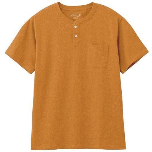 綿100%ヘンリーネックTシャツ(半袖)/オーガニックコットン使用素材