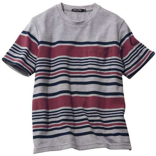 20%OFF【メンズ】 ドライ・リップル素材パネルボーダー柄Tシャツ ■カラー:グレー系 ■サイズ:3L