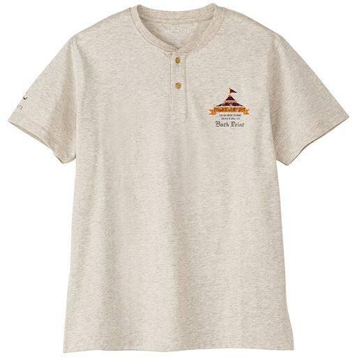 綿100%ヘンリーネックプリントTシャツ