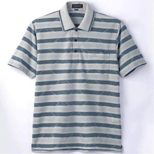 【メンズ】 鹿の子ボーダーポロシャツ(UPレノマ) - セシール ■カラー:グレー系 ■サイズ:LL,M,L