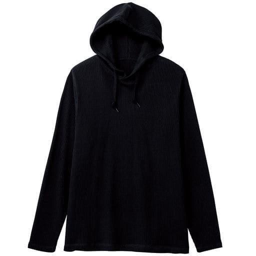 30%OFF【メンズ】 綿100%ワッフルカットソープルパーカ ■カラー:ブラック ■サイズ:M,L,LL,3L,5L