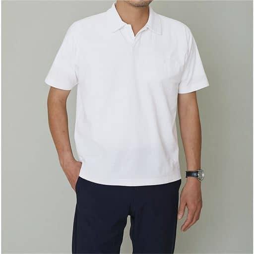 アムンゼン素材スキッパーポロシャツ/綿100%なのにドライ機能付き