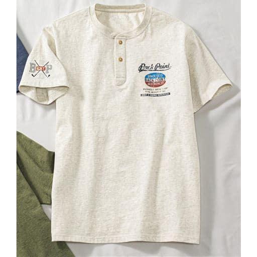 綿100%ヘンリーネックプリントTシャツ(半袖)
