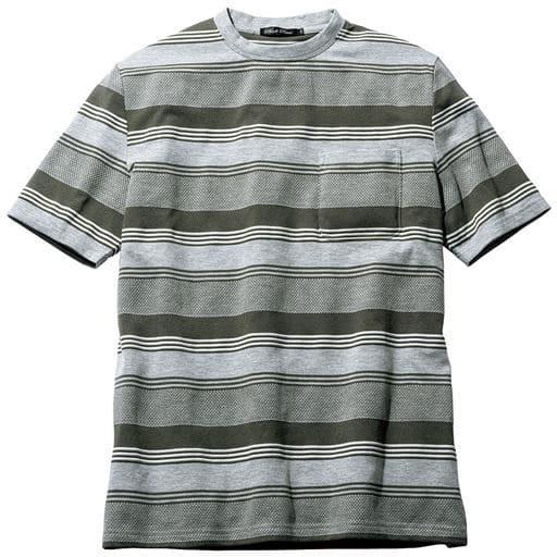 ラーベン編みボーダー柄Tシャツ(ドライ機能付き)