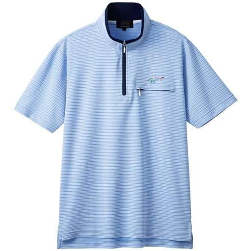 【メンズ】 胸刺繍ハーフジップシャツ(グレッグ・ノーマン) - セシール ■カラー:サックス ■サイズ:LL