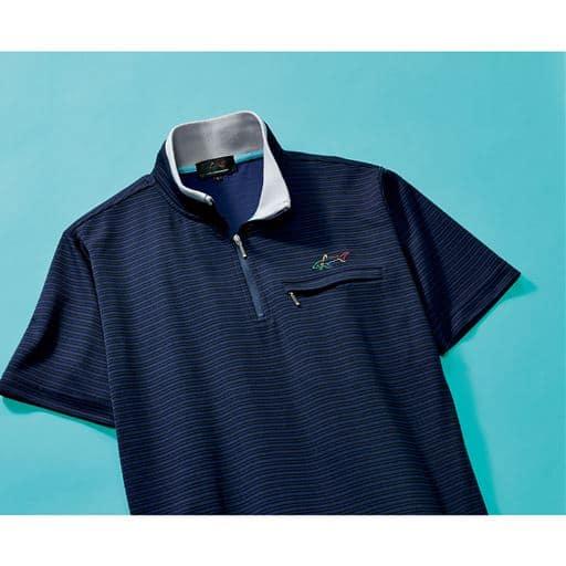 【メンズ】 胸刺繍ハーフジップシャツ(グレッグ・ノーマン) ■カラー:ネイビー ■サイズ:L