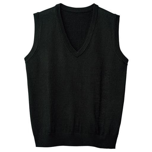 【メンズ】 洗濯機で洗えるからいつでも清潔 仕事や休日にも着回せるニットベスト - セシール ■カラー:ブラック ■サイズ:M