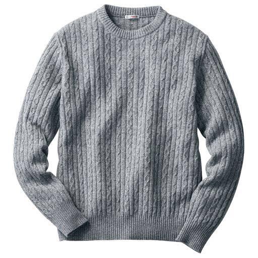 45%OFF【メンズ】 品のあるこだわり編地の日本製ラム混ニットのクルーネックセーター - セシール ■カラー:グレー系 ■サイズ:5L