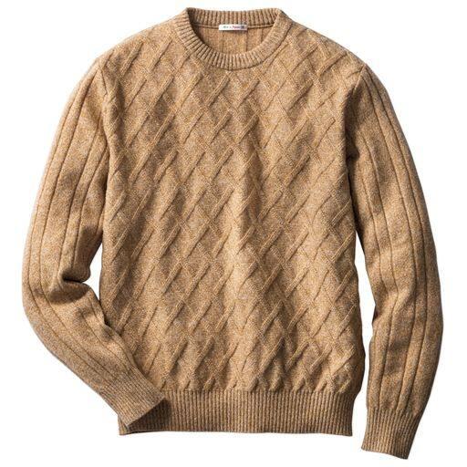 45%OFF【メンズ】 品のあるこだわり編地の日本製ラム混ニットのクルーネックセーター ■カラー:キャメル系 ■サイズ:3L,5L