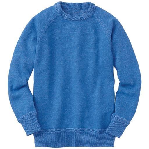 49%OFF【メンズ】 洗えて、早く乾く!綿混ニット素材のクルーネック・セーター - セシール ■カラー:ブルー ■サイズ:M,L,LL,3L