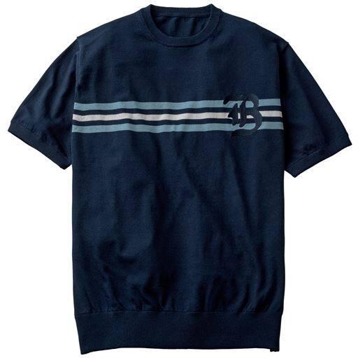 50%OFF【メンズ】 ドライ・ウォッシャブル・ニットTシャツ ■カラー:ネイビー系 ■サイズ:M,LL