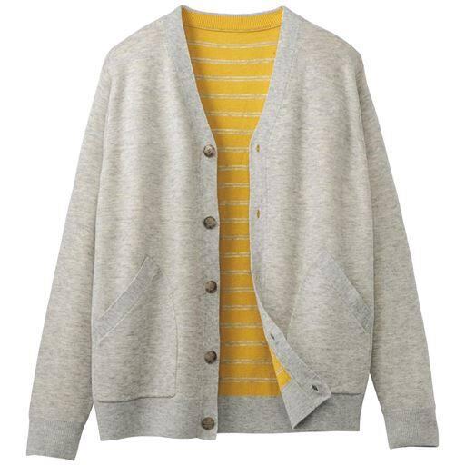 30%OFF【メンズ】 おうちで洗える二重編みニットジャケット ■カラー:ライトグレー ■サイズ:L,3L,5L,LL