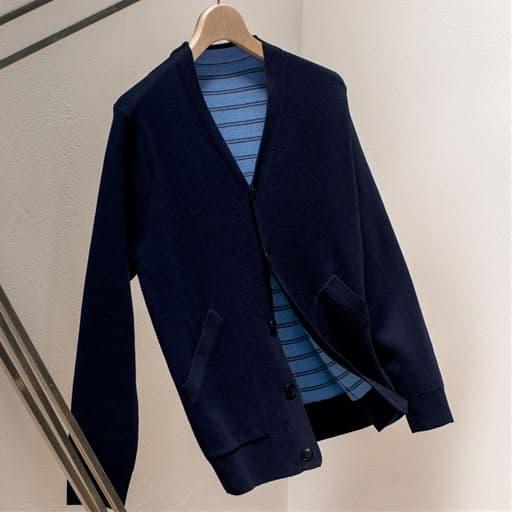 30%OFF【メンズ】 おうちで洗える二重編みニットジャケット - セシール ■カラー:ネイビー ■サイズ:L,3L,5L