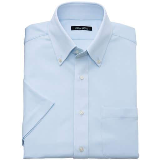 【メンズ】 吸汗速乾 抗菌防臭 ポロシャツ素材のワイシャツ(半袖) クールビズにも対応 メンズビジネス ■カラー:サックス系 ■サイズ:M,L