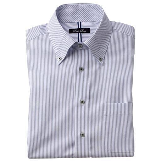 20%OFF【メンズ】 形態安定デザインYシャツ(半袖) ■カラー:ブルー系(マイターボタンダウン衿) ■サイズ:5L,M,L,LL,3L,4L