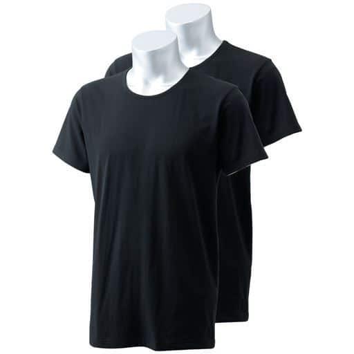 男の吸汗・速乾綿100% 半袖丸首(2枚組)