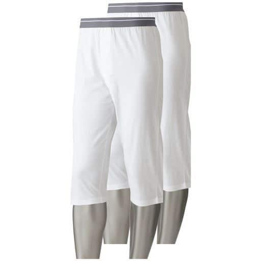 【メンズ】 男の吸汗・速乾綿100% ロングパンツ(2枚組) ■カラー:ホワイト ■サイズ:S,5L,3L,LL,L,M