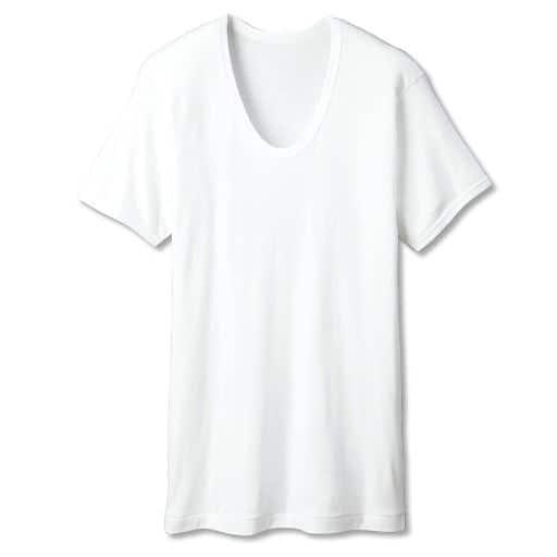 【メンズ】 男の綿100%消臭・抗菌 半袖Uネック(2枚組) - セシール ■カラー:ホワイト ■サイズ:M,5L,LL,3L,S,L