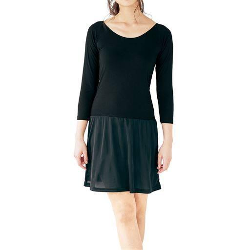 【レディース】 8分袖切替スリップ/スマートヒート® ■カラー:ブラック ■サイズ:5L-85(サイズ-身丈)