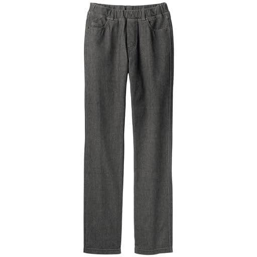 【レディース】 ニットデニムストレートパンツ(スマートニットジーンズ)(選べる4レングス・洗濯機OK) ■カラー:フェードブラック ■サイズ:3L(股下64),3L(股下68),3L(股下72)