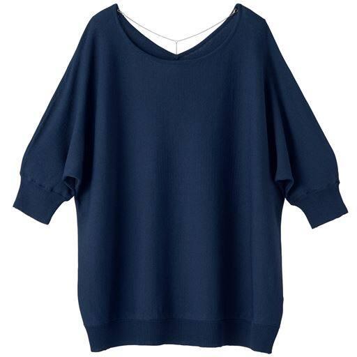 40%OFF【レディース】 バックネックレス付きニット - セシール ■カラー:ネイビー ■サイズ:S,M,L,LL,3L