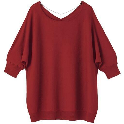 49%OFF【レディース】 バックネックレス付きニット ■カラー:レッドブラウン ■サイズ:S,M,L,LL
