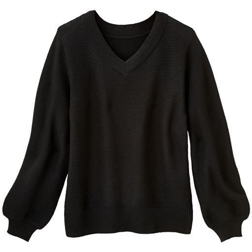 【大きいサイズ プランプ】すっきりVネックの衿元&リブ袖口!技ありのディテールで魅せる秋色ニット。全5色展開です。