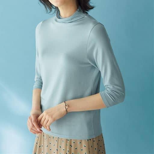 テンセル™繊維混ボトルネック七分袖Tシャツ(日本製・S-4L)