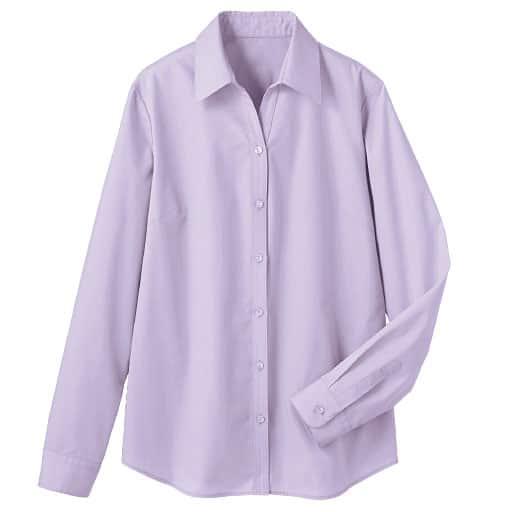 【レディース】 形態安定ベルカラーシャツ(長袖)(UVカット・抗菌防臭) ■カラー:ライラック ■サイズ:S,M,L,LL,3L,4L,MT, LT, LLT