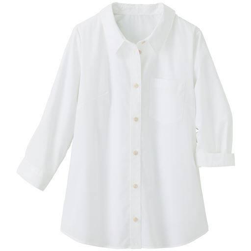 【大きいサイズ プランプ】PLUMPのオフィススタイル-着心地のよさにこだわった技ありシャツ☆グラマーさん用サイズもご用意!形態安定レギュラーシャツ(7分袖)