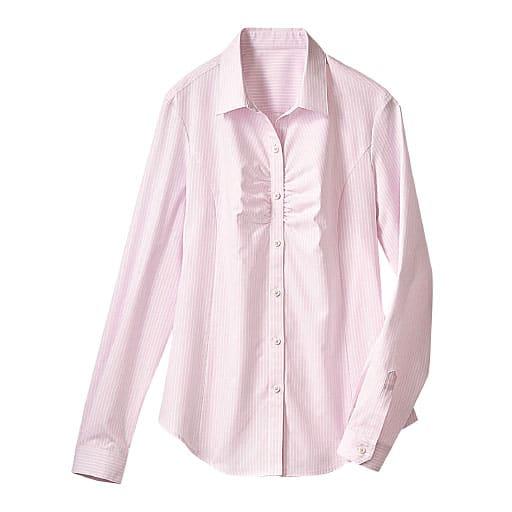 【レディース】 形態安定胸元ギャザーシャツ(長袖)(抗菌防臭・UVカット・洗濯機OK) ■カラー:ミスティピンク ■サイズ:M,L,LL,3L