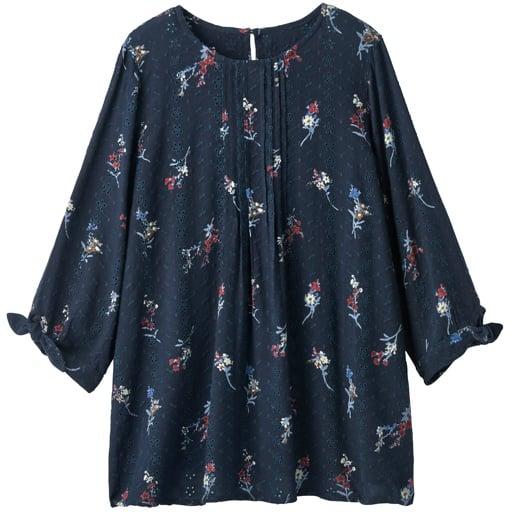 50%OFF【レディース】 刺しゅう使いリボン袖ブラウス ■カラー:ネイビー・小花柄 ■サイズ:S