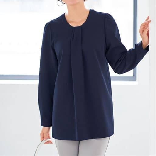 【大きいサイズ プランプ】さらりと着るだけで着映える!しなやかなダブルクロス素材のデザインブラウスです。