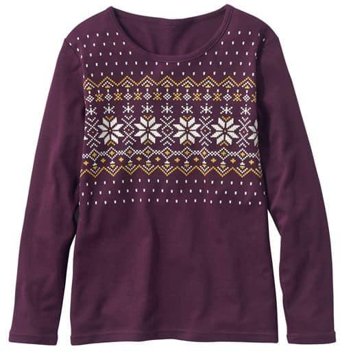 30%OFF【レディース】 あったかプリントTシャツ(S-5L・綿100%・蓄熱保温) ■カラー:バーガンディ系:ノルディック柄 ■サイズ:M,3L,S,LL,L