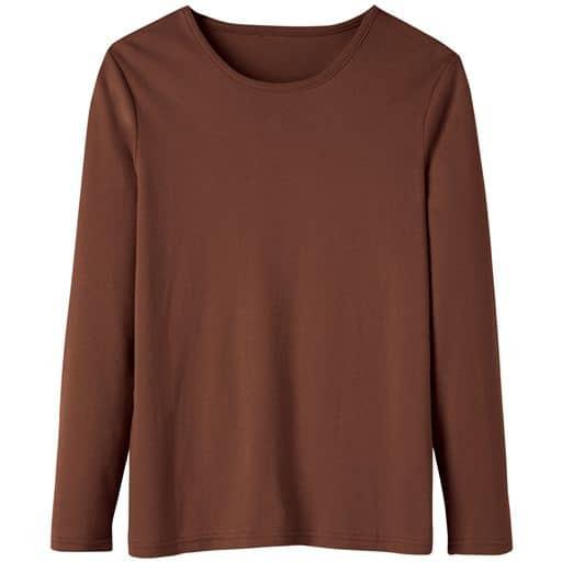 29%OFF【レディース】 あったかシンプルTシャツ(S-5L・綿100%・蓄熱保温) ■カラー:ブラウン ■サイズ:LL,4L-5L,M,L,3L,S