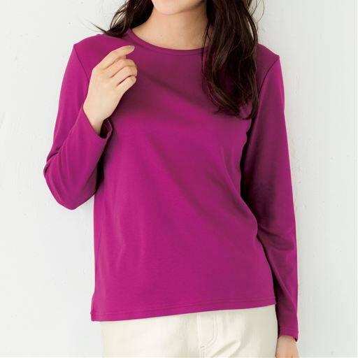 29%OFF【レディース】 あったかシンプルTシャツ(S-5L・綿100%・蓄熱保温) ■カラー:ローズパープル ■サイズ:3L,4L-5L,L,M,LL