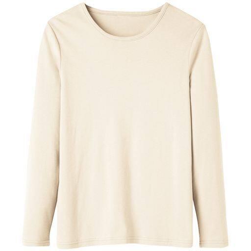 29%OFF【レディース】 あったかシンプルTシャツ(S-5L・綿100%・蓄熱保温) ■カラー:アイボリー ■サイズ:3L,L,LL