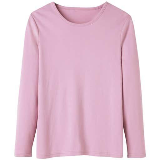 29%OFF【レディース】 あったかシンプルTシャツ(S-5L・綿100%・蓄熱保温) ■カラー:スモークピンク ■サイズ:L,LL,M,3L