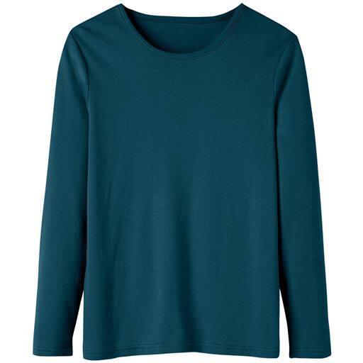 29%OFF【レディース】 あったかシンプルTシャツ(S-5L・綿100%・蓄熱保温) ■カラー:ティールグリーン ■サイズ:LL,4L-5L,L