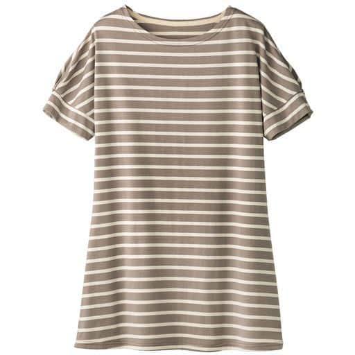 【レディース】 裾フレアドルマンボーダーTシャツ(S-3L) ■カラー:グレージュ×キナリ ■サイズ:S,M,L,LL,3L
