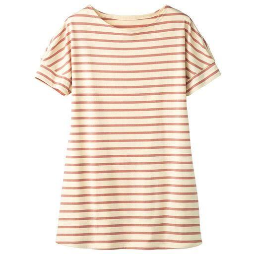 50%OFF【レディース】 裾フレアドルマンボーダーTシャツ(S-3L) ■カラー:キナリ×オレンジ ■サイズ:S