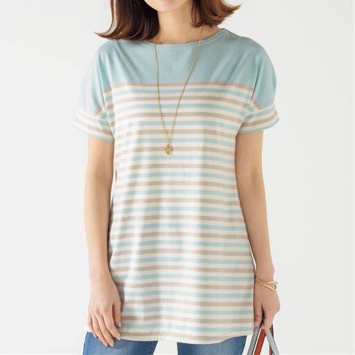 50%OFF【レディース】 裾フレアドルマンボーダーTシャツ(S-3L) ■カラー:ブルー×ベージュ×キナリ ■サイズ:M,L