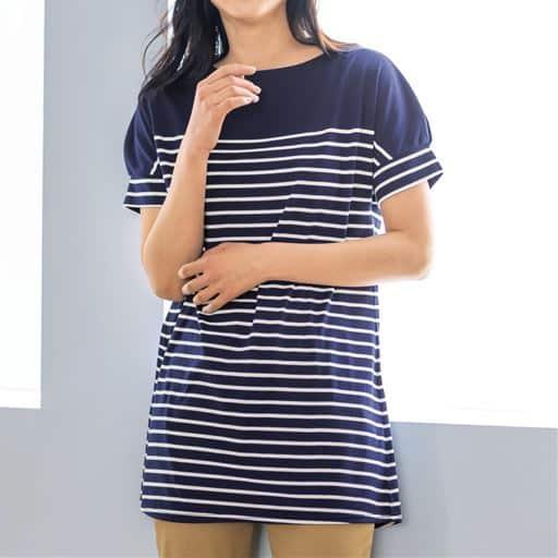 【レディース】 裾フレアドルマンボーダーTシャツ(S-3L) ■カラー:ネイビー×オフホワイト ■サイズ:M,L,LL,3L,S