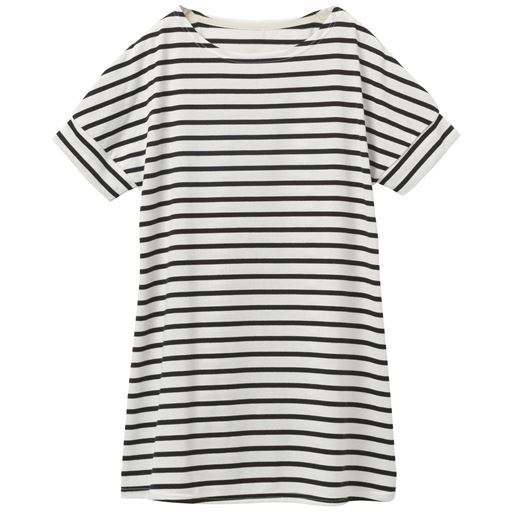 【レディース】 裾フレアドルマンボーダーTシャツ(S-3L) ■カラー:オフホワイト×ブラック ■サイズ:S,3L,LL,L,M