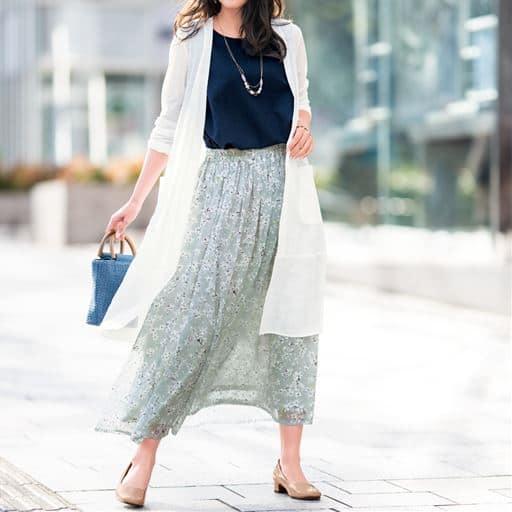 【大きいサイズ プランプ】軽やかな透け感が今の気分!梨地素材のカットソーにシフォン裾がドッキングしたロングカーディガンです。