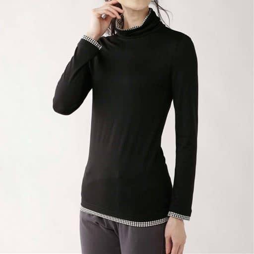 スマートヒート配色使いルーズネックTシャツ(静電気防止・吸湿発熱・吸汗速乾)