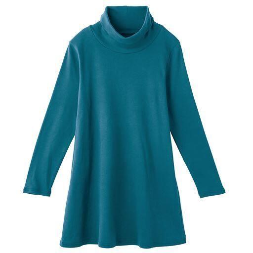50%OFF【レディース】 あったかシンプルルーズネックTシャツ(S-5L・綿100%) ■カラー:ピーコックグリーン ■サイズ:S,M,L,LL,3L