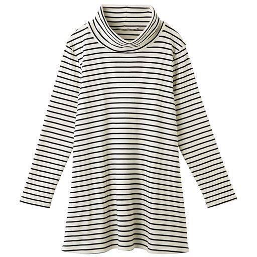 50%OFF【レディース】 あったかシンプルルーズネックTシャツ(S-5L・綿100%) ■カラー:ボーダーD(キナリ×ブラック) ■サイズ:M,L,LL,3L